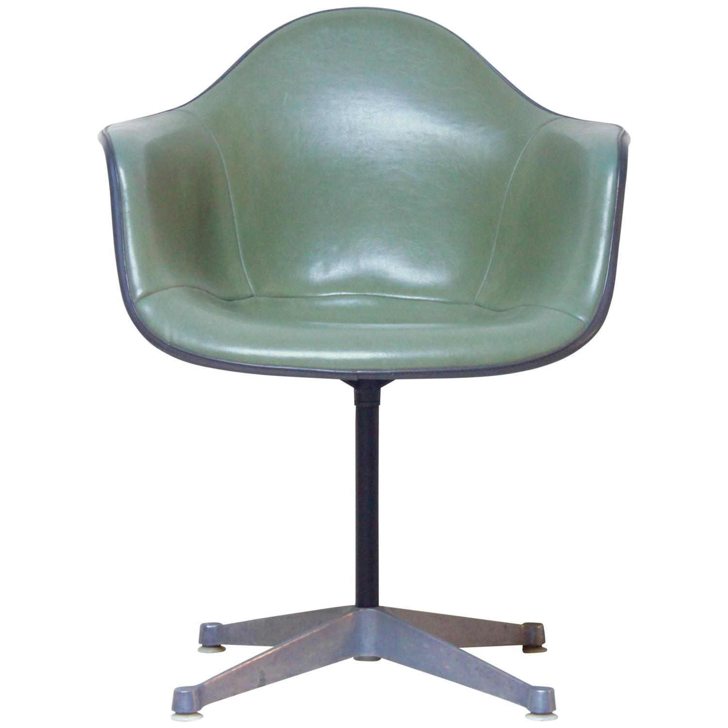 Olive Green Leather Eames Shell Chair At 1stdibs
