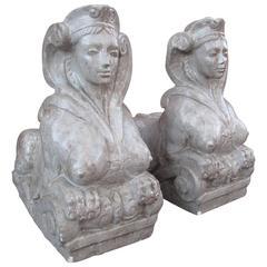 Pair of Plaster Sphinx