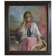 """Alberto Ziveri """"Giovane Contadina"""" Painting"""