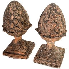 Pair of Red Terra Cotta Pineapple Garden Finials