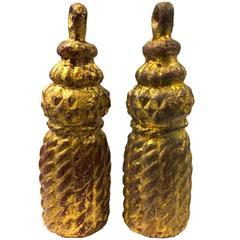Pair of Hollywood Regency Italian Giltwood Carved Decorative Tassels