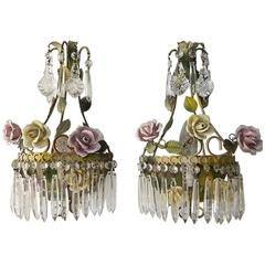 French Tole Porcelain Roses and Crystal Sconces