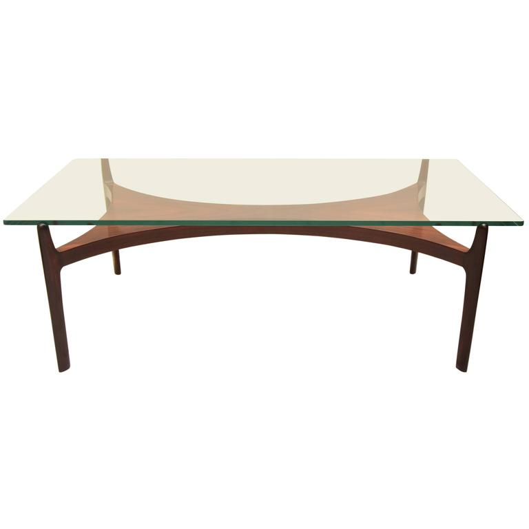 Rare Rosewood and Glass Coffee Table by Sven Ellekaer for Christian Linneberg