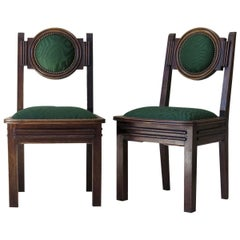 Set of Six Oak Art Deco Dining Chairs, France, circa 1930s