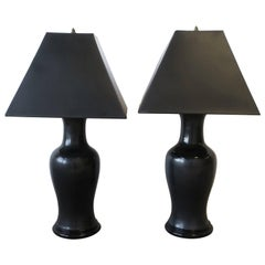 Black Ginger Jar Ceramic Pottery and Brass Table Lamps