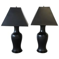 Substantial Pair of Vintage Black Ceramic Pottery and Brass Table Lamps, 1970s