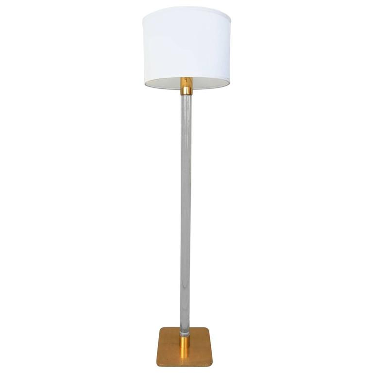 Mid-Century Modern Hansen of New York, Lucite and Brass Floor Lamp ...