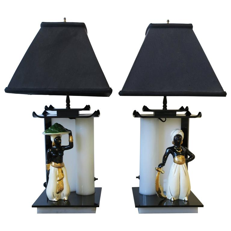 Pair of Black and White Lamps with Porcelain Blackamoor Sculptures, 1940s