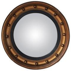 Antique Regency Style English Early 20th Century Gilt Gesso Convex Mirror