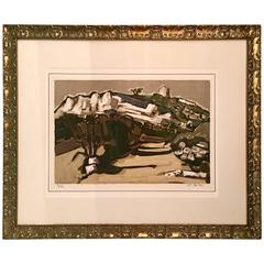 "Original Lithograph ""Le Pigeognier"" by Jean Claude Quilici, Signed 2/62"