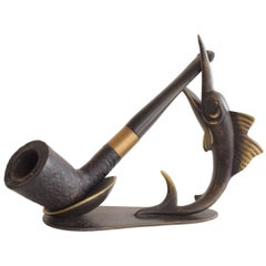 Richard Rohac Fish Tobacco Pipe Holder Stand, Austria, 1950s