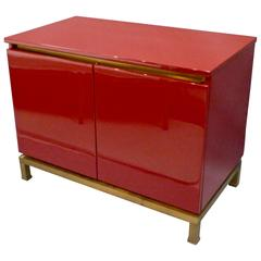 Red Lacquered Cabinet by Guy Lefevre