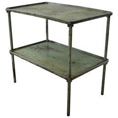 Vintage Industrial Steel Two-Tier Metal Iron Adjustable Table Storage Bar Cart