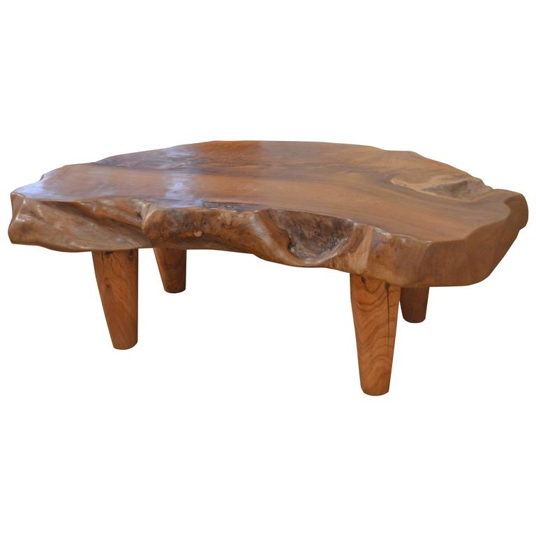 Natural teak wood coffee table at 1stdibs One of a kind coffee tables