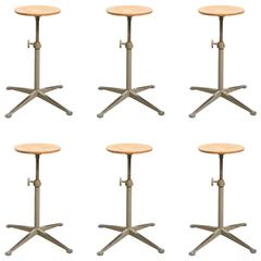 Set of Six Adjustable Architect Stools Designed by Friso Kramer