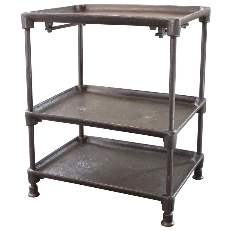 Three-Tier Table Cart Vintage Industrial Adjustable Cast Iron and Steel Side