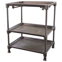 Three-Tier Table Cart Vintage Industrial Adjustable Cast Iron and Steel Side