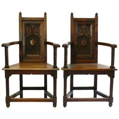 Pair of 19th Century Gothic Armchairs French Carved Oak Open Chairs