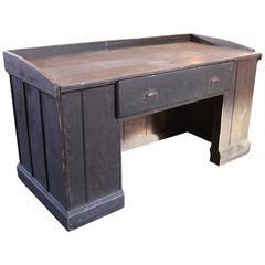 Vintage Industrial Wooden Hardware Store Counter, Clerk's Desk Table