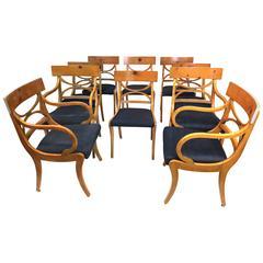 Fruitwood Klismos Dining Chairs- set of 10- Elegant Ruhlmann Style