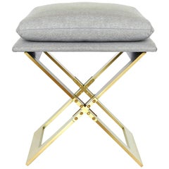 Marx Brass Stool with Heather Grey Herringbone Fabric