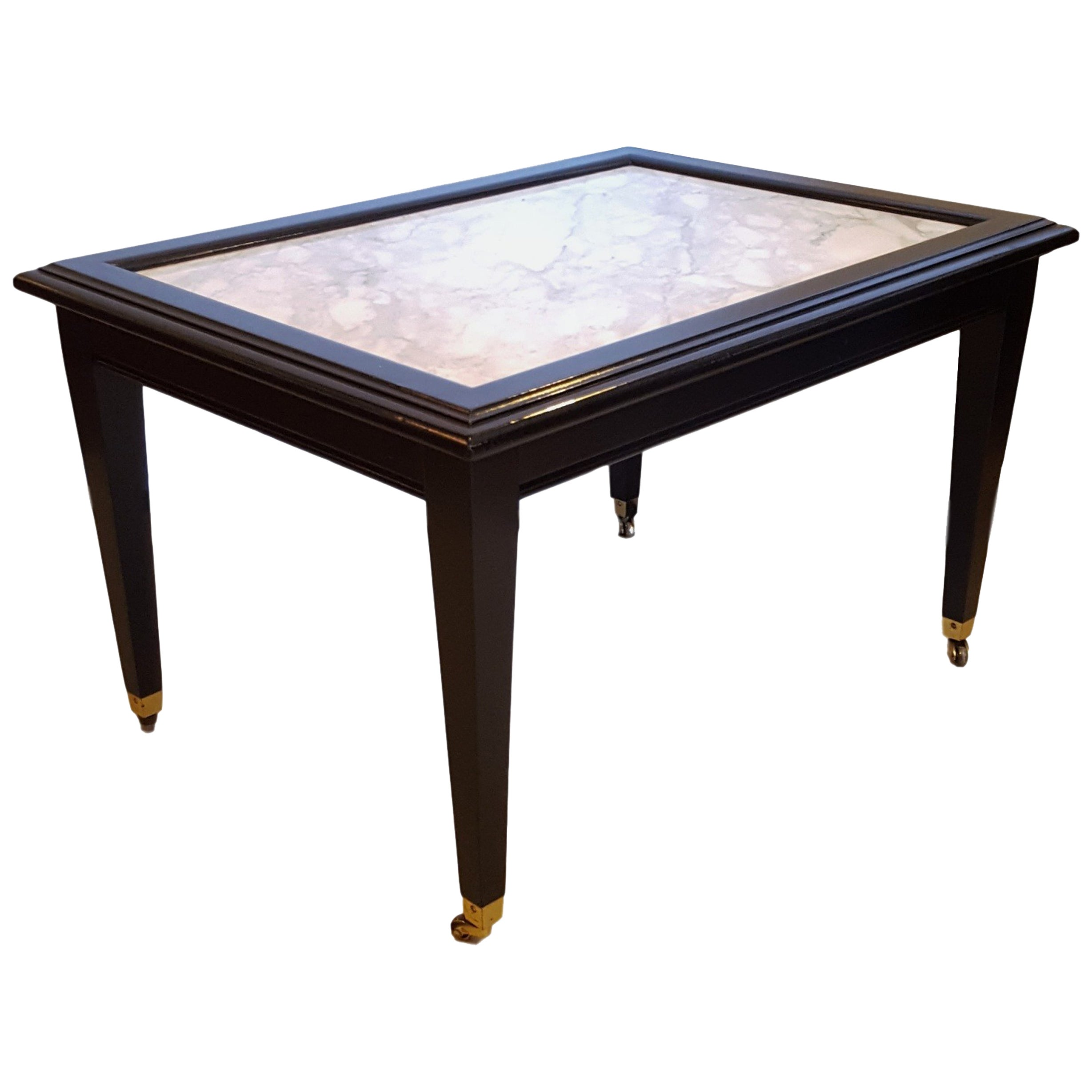 Ebonized Marble Top Coffee Table / Cocktail Table On Wheels manner of Jansen