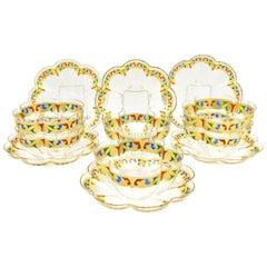 12 Venetian Quatrefoil Gold Dessert Bowls and Plates  Blue, Red & Green Enamel