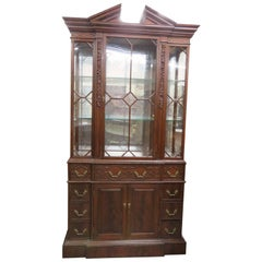 Georgian Carved Jonathan Charles Flame Mahogany Narrow China Cabinet Breakfront