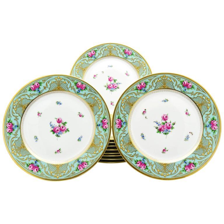 Set of 11 Lamm Dresden Turquoise Raised Gold & Hand-Painted Rose Dinner Plates