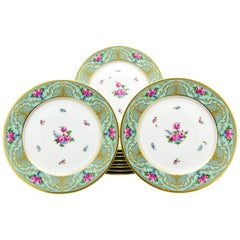 Set of 11 Lamm Dresden Turquoise Raised Gold & Hand-Painted Rose Dinner Plates