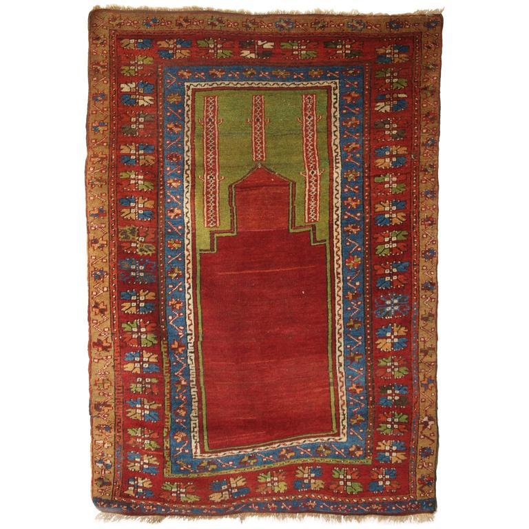 Antique Turkish Konya Prayer Rug Of Simple Primitive Design Circa 1900 For Sale