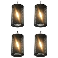 Four French Industrial Steel Pendant Lights