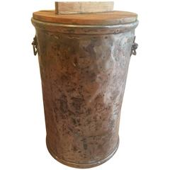 French Polished Steel Storage Bin with Wooden Lid