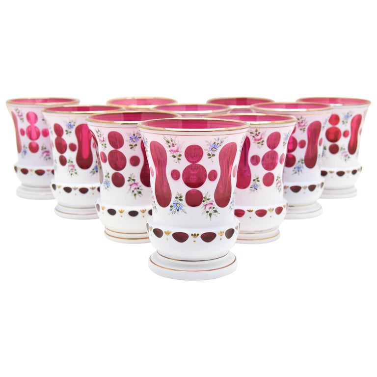 Set of 10 Bohemian cranberry-and-white tumblers, 1920s, offered by Elise Abrams Antiques