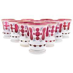 Set of 10 Bohemian Cranberry/White Overlay Tumblers with Enamel Decoration