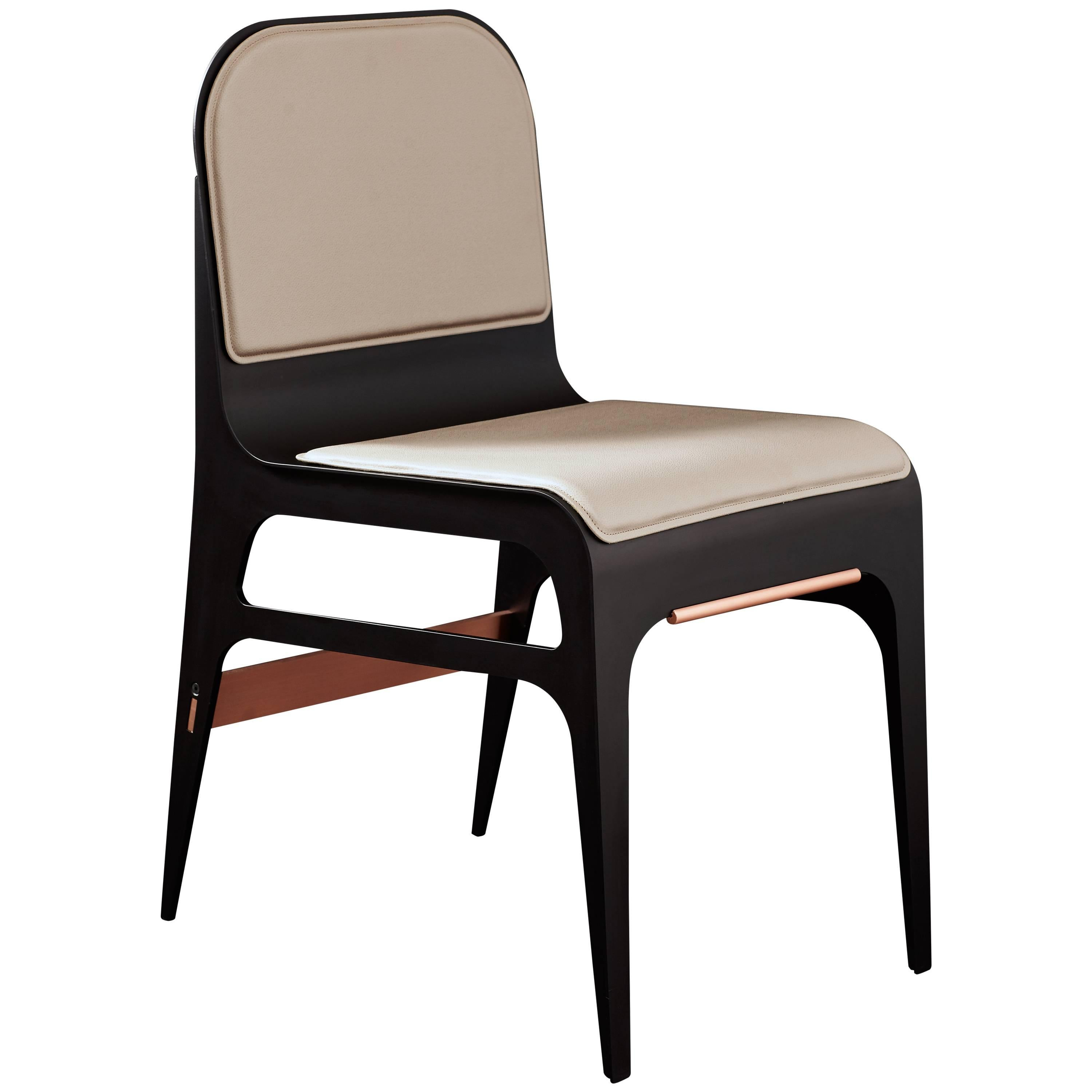 Bardot Side or Dining Chair in Black Steel and Satin Copper with French Leather