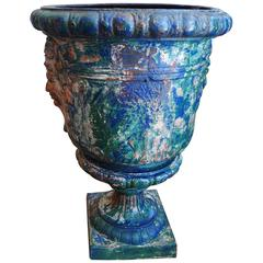 French 19th Century Blue Painted Cast Iron Urn
