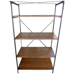 French 1940s Cast Iron Display Unit with Four Walnut Shelves