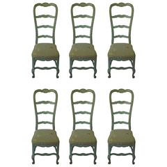 Set of Six Fabulously French  Robin's Egg Blue Louis XV Chairs, Bussac France