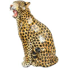 20th Century Italian Statue of Seated Leopard with Hand-Painted Details