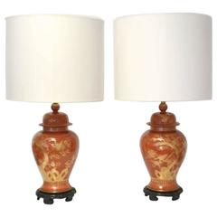 Pair of Hollywood Regency Ceramic Jar Form Table Lamps