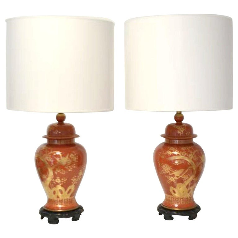 Pair of Hollywood Regency Ceramic Jar Form Table Lamps For Sale