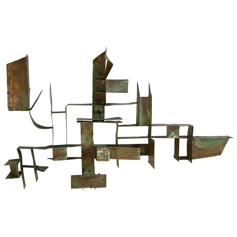 Brutalist Bronze Wall Hanging Sculpture, Germany
