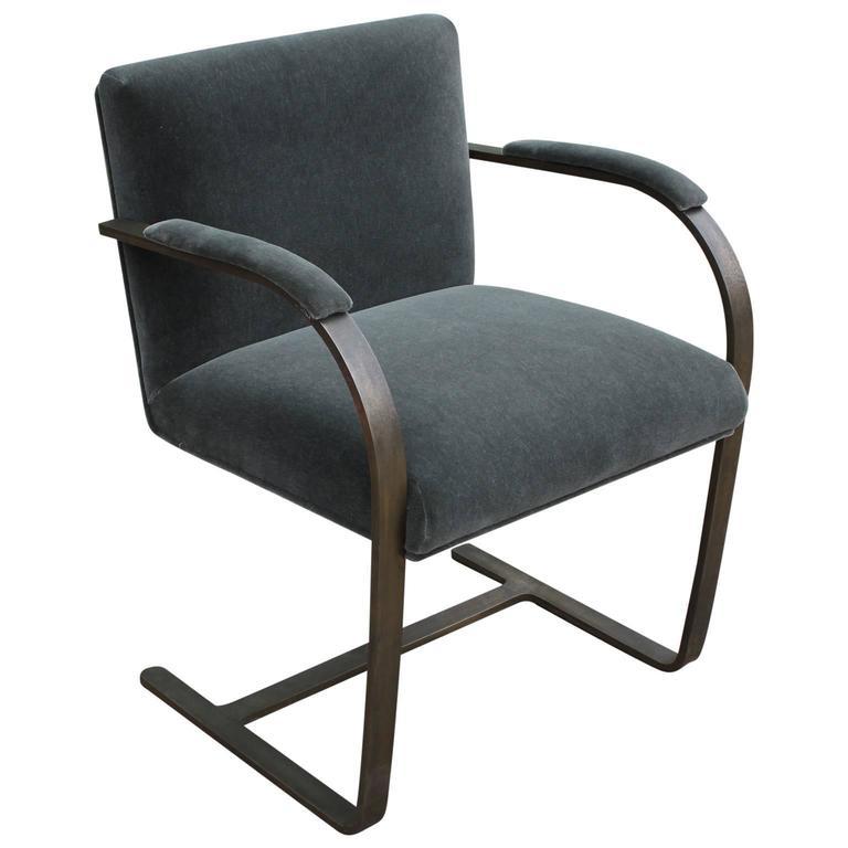 Mies Brno Chair rare bronze flat-bar brno chairmies van der rohe at 1stdibs