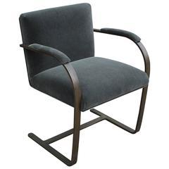 Rare Bronze Flat-Bar Brno Chair by Mies van der Rohe