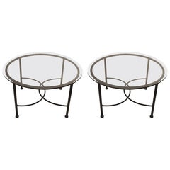 Pair of Round Glass Top Brown Jordan Tables