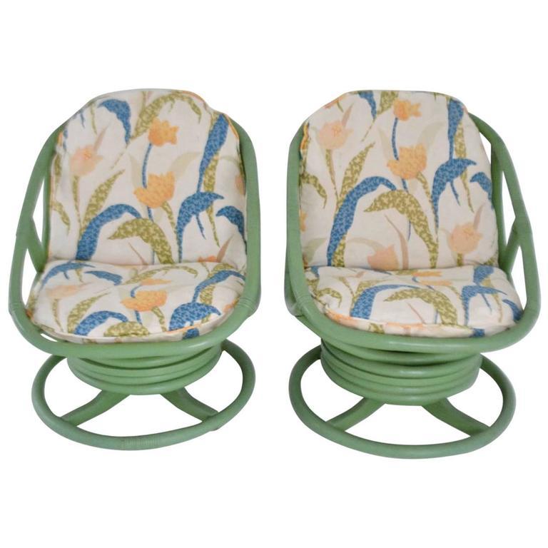 Pair of Midcentury Bent Bamboo Club Chairs