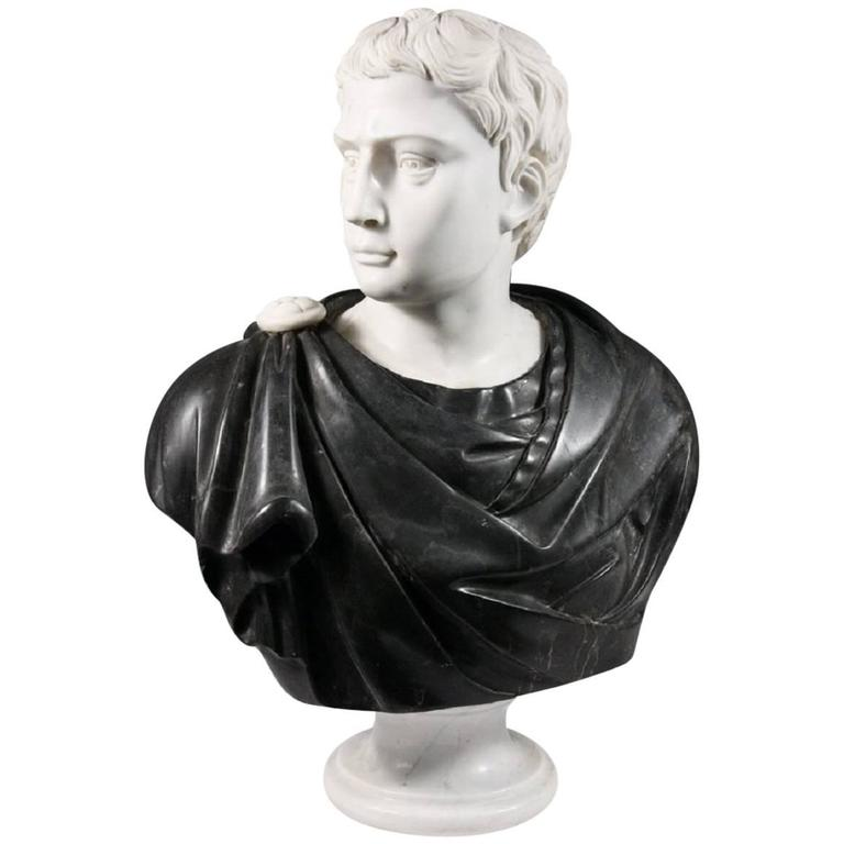 Late 19th Century Black and White Italian Marble Bust of Roman Statesman