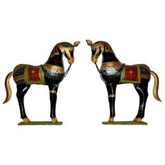 20th Century Decorative Parcel-Gilt and Polychrome Metal Horses