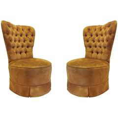 Pair of Hollywood Regency Barrel Seat High Back Designer 1940s Style Chairs